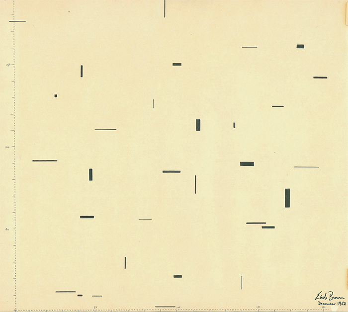 "*Earle Brown's score for _December 1952_*, ink on paper, 12 × 16 3/4"". From ""FOLIO and 4 SYSTEMS,"" 1952–54. © 1961 Associated Music Publishers."