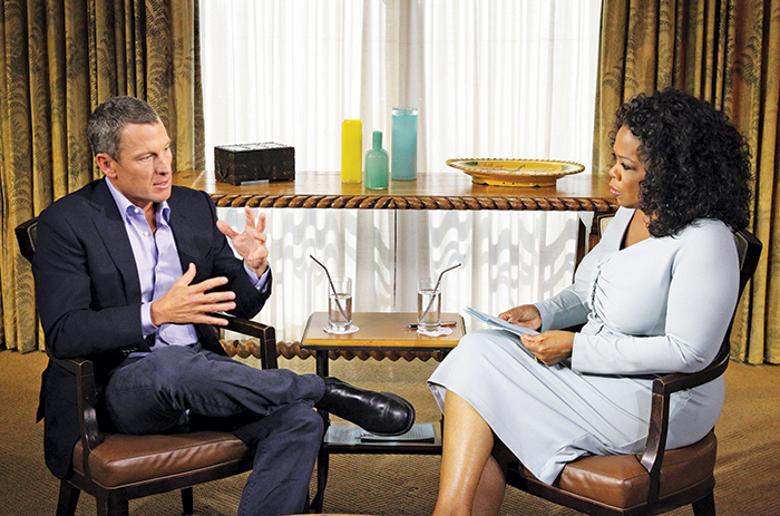 *Lance Armstrong and Oprah Winfrey during the taping of _Oprah and Lance Armstrong: The Worldwide Exclusive_, Austin, January 14, 2013.* Photo: AP/Harpo Studios/George Burns.