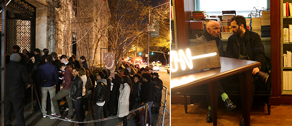 Left: The line outside the Cultural Services of the French Embassy. Right: Dia curator Manuel Cirauqui (right).