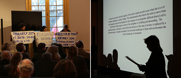 Left: Monique Canto-Sperber's talk. Right: Emily Apter.