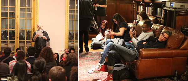 Left: Simon Critchley. Right: Audience at the Night of Philosophy.