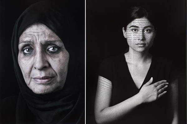 "Left: Shirin Neshat, Ghada, 2013, digital C-print and ink, 62 1/8 x 40 1/4"". From ""Our House Is on Fire"" series, 2013. Right: Shirin Neshat, Nida (Patriots), 2012, ink on LE silver gelatin print, 60 x 45"". From ""The Book of Kings"" series, 2012."