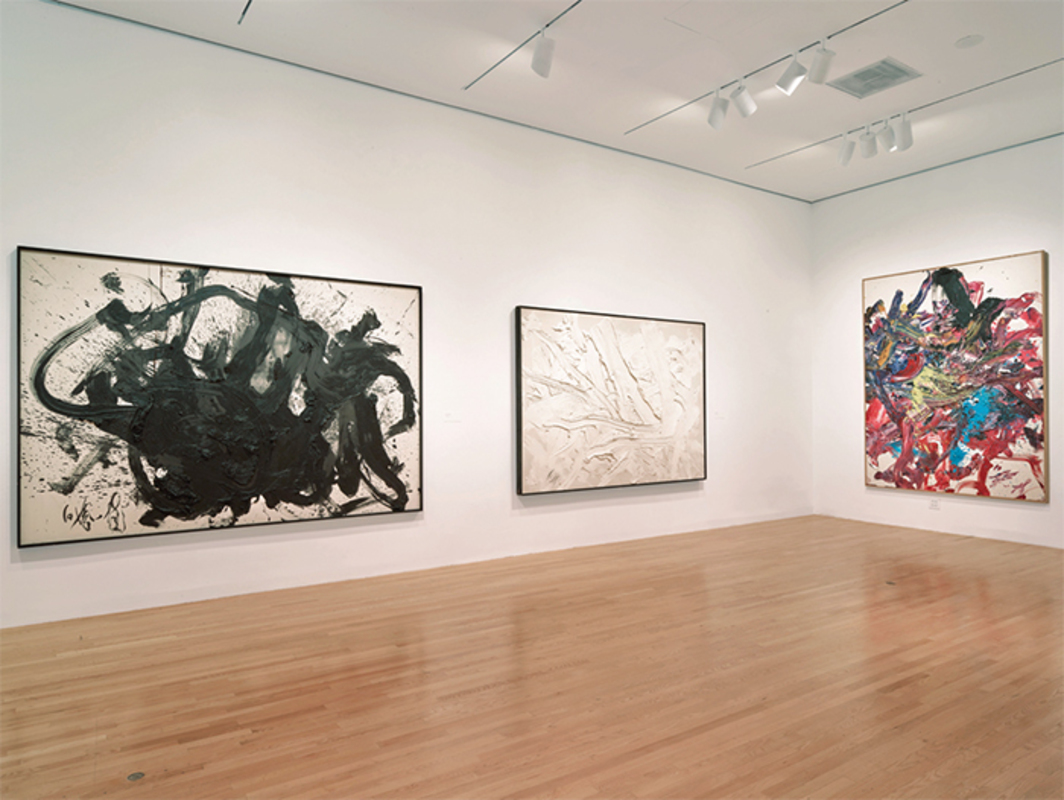 "View of ""Between Action and the Unknown: The Art of Kazuo Shiraga and Sadamasa Motonaga,"" 2015, Dallas Museum of Art. From left: Kazuo Shiraga, Kan'uncho, 1984; Kazuo Shiraga, Fuso, 1986; Kazuo Shiraga, Imayo Ranbu, 2000. Photo: Chad Redmon."