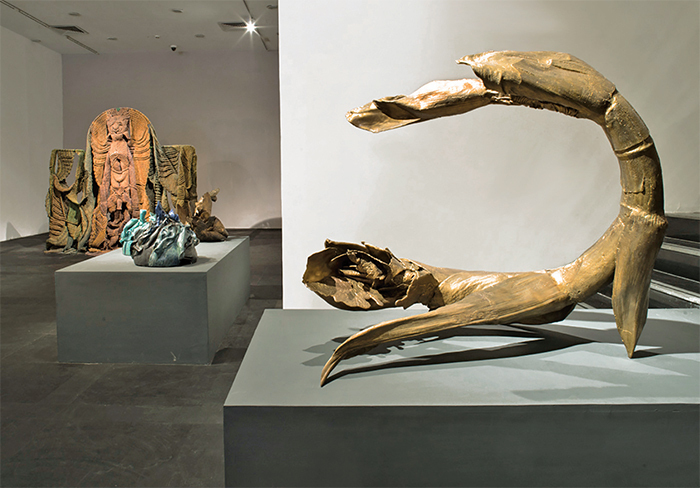 "View of ""Transfigurations: The Sculpture of Mrinalini Mukherjee,"" 2015. From left: Van Raja, 1991–94; Netty's Green, 2000; Untitled, 2000; Palm Scape II, 2013. Photo: Ram Rahman."