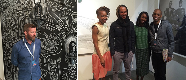 Left: Conrad Botes stands in front of his mural Sad Man's Tongue, 2015. (Photo: James Green) Right: Artists Ruby Onyinyechi Amanze and Fabrice Monteiro, dealer Mariane Ibrahim-Lenhardt, and artist Jim Chuchu. (Photo: Mariane Ibrahim Gallery).