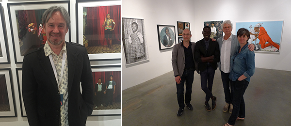 Left: Dealer Gary Van Wyk stands in front of the portraits of Bobson Sukhdeo Mohanlall. Right: Magnin-A founding director Philippe Boutté, artist Omar Victor Diop, Magnin-A founding director André Magnin, and artist Nathalie Boutté. (Photo: Magnin-A).