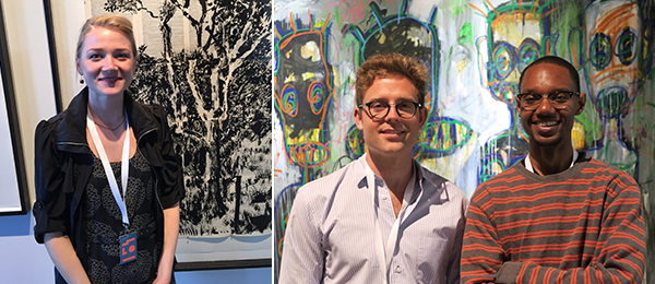 Left: Meghan Allynn Johnson, David Krut Projects, stands in front of a linocut print by William Kentridge, executed by David Krut Projects. Right: Dealer Jack Bell and artist Lavar Munroe. (Photo: Oliver Durey).