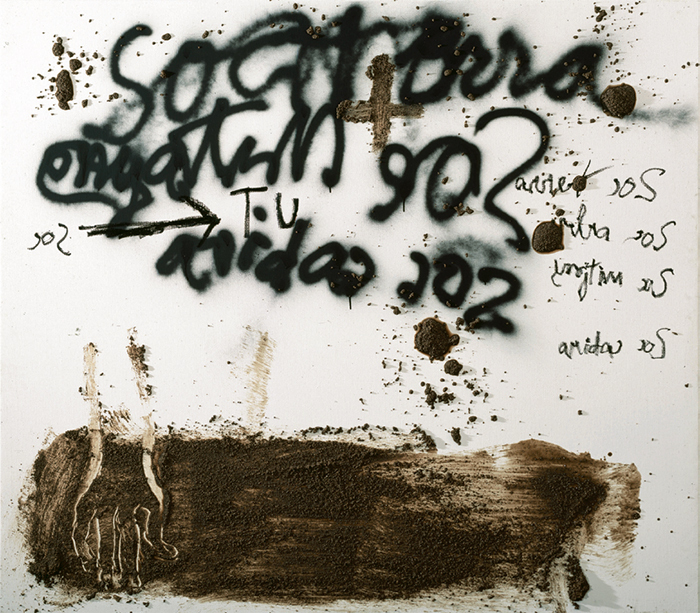 "Antoni Tàpies, Sóc terra (I Am Earth), 2004, mixed media on canvas, 69 × 79""."