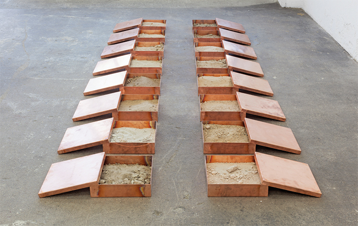 "Robert Kinmont, 16 Dirt Roads, 2014, copper, dirt, 3"" × 12' × 5'."
