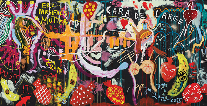 "Jonathan Meese, BUBBEL DE BABE, PULL PULLI-PULL-PULLSNS' VOLLE PULLE, 2014–15, oil and acrylic on canvas, 6' 11"" × 13' 10""."