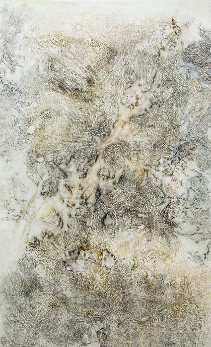 "Nadia Kaabi-Linke, A Short Story of Salt and Sun, 2013, silk paper, wax, Chinese ink, and varnish on linen, 90 1/2 × 55""."