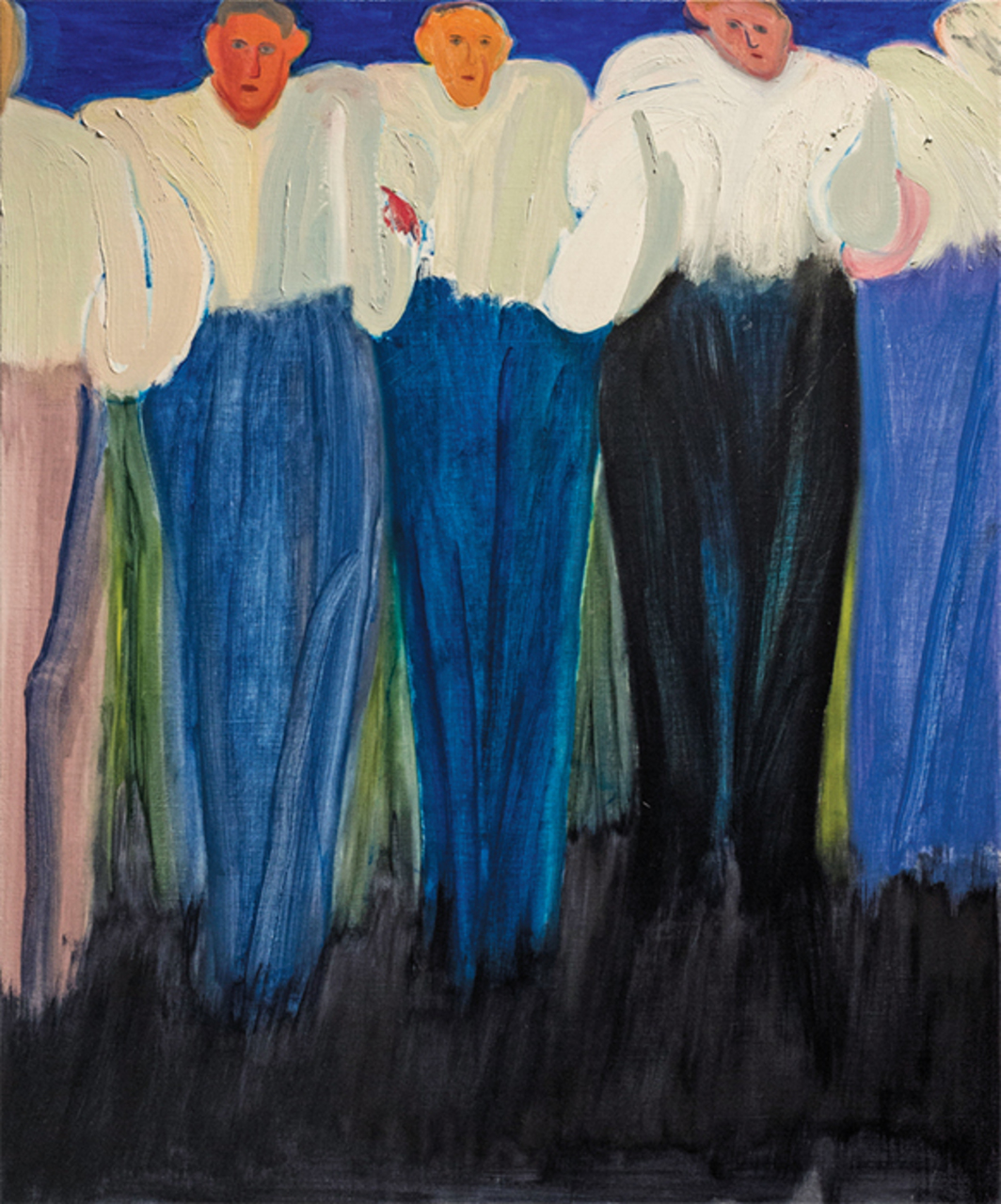 "Firenze Lai, Human Chain, 2014, oil on canvas, 31 1/2 × 27 1/2"". From ""A Hundred Years of Shame: Songs of Resistance and Scenarios for Chinese Nations."""