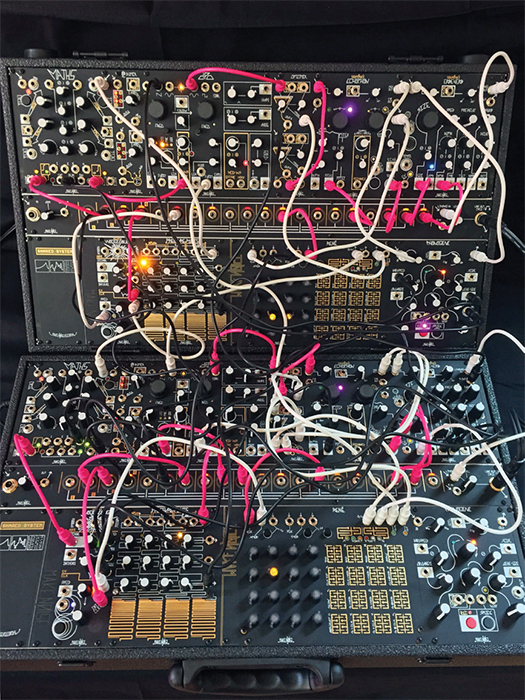 *Make Noise Shared System Eurorack modular synthesizer with patch cords, Asheville, NC, May 11, 2015.* Photo: Anthony T. Rolando.