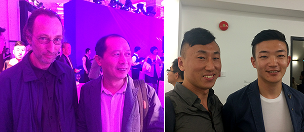 Left: Dealer Lorenz Helbling with MAXXI artistic director Hou Hanru. Right: Dealer Simon Wang and Li Qi, senior curator at the Rockbund Art Museum.