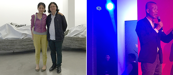 Left: V Art Center's Chao Jiaxing and artist Ding Yi. Right: Artist Cai Guo-Qiang.