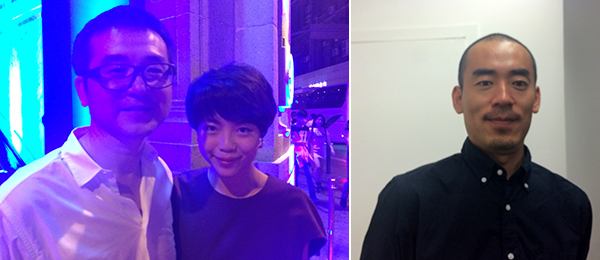 Left: Collector Qiao Zhibing and Lihsin Tsai. Right: Artist Zhang Ding.