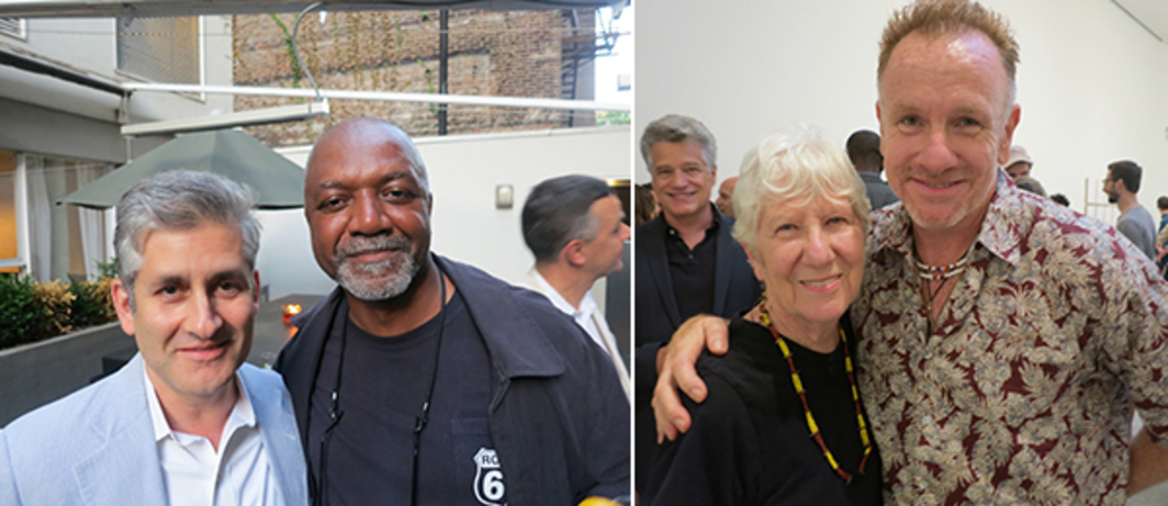Left:  National Gallery curator James Meyer and artist Kerry James Marshall. Right: Artists Mary Heilmann and Jack Pierson.