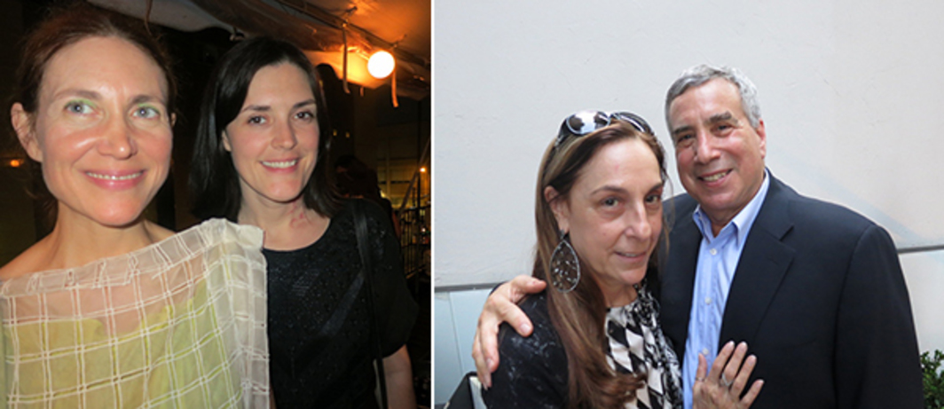 Left: Artist Susan Cianciolo and dealer Bridget Donahue. Right: Collectors Shelley Fox Aarons and Phil Aarons.