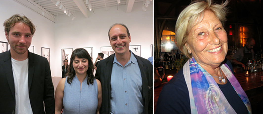 Left: Artist Nick Poe, New Museum curator Margot Norton, and Art Institute of Chicago curator Matthew Witkovsky. Right: Collector Nedda Young.