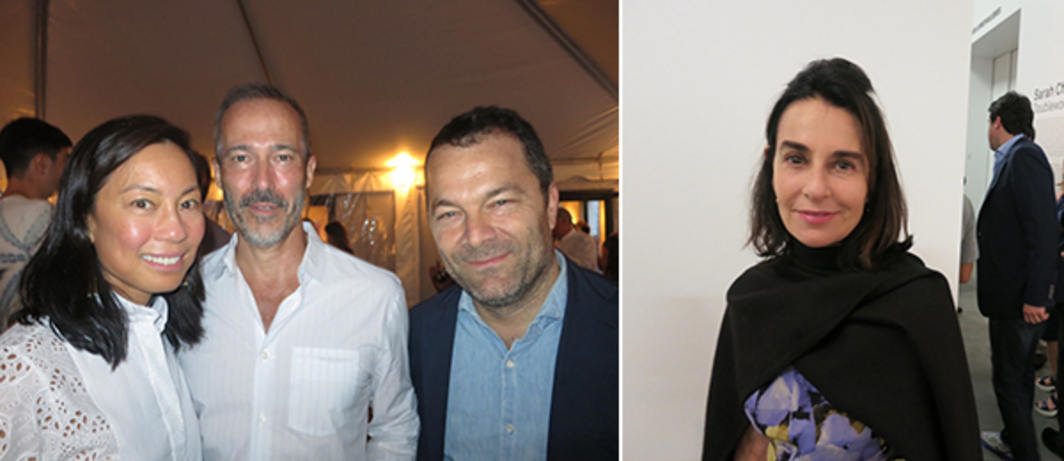 Left: Collectors Charlotte Ford and Michael Wise with dealer Andrew Kreps. Right: Jewish Museum director Claudia Gould.