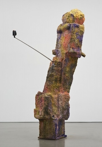 "Rachel Harrison, Magnum, 2015, wood, polystyrene, chicken wire, cement, acrylic, Eagle Magnum Lead shot, selfie stick, and display phone, 85 1/2 x 56 x 22""."