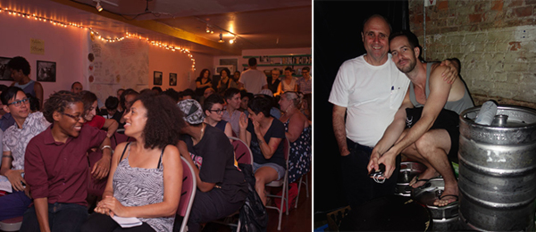 "Left: Audience at ""Misadventures in Black Dyke Dating in the 1990s."" (Photo: Sam Richardson) Right: Filmmaker Jim Hubbard and critic Sand Avidar at the Eagle. (Photo: Alex Fialho)"