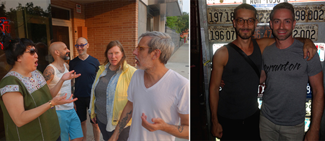 Left: ICA Philadelphia director Amy Sadao, Visual AIDS executive director Nelson Santos, Richard Presser, and artists Jeanine Oleson and  Lucas Michael at the Rusty Knot. Right: Artist Carlos Motta and art historian Jack McGrath. (Photos: Alex Fialho)