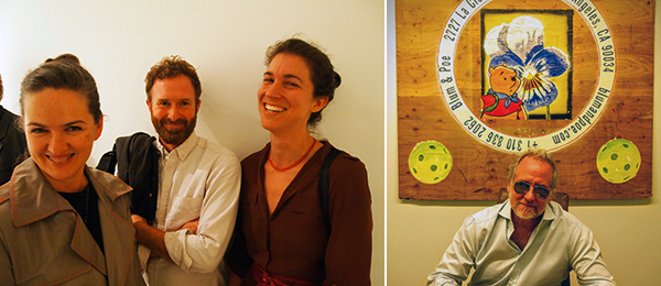 Left: Artists Kate Costello and Jedidiah Caesar with writer Sarah Lehrer-Graiwer. Right: Dealer Jeff Poe.