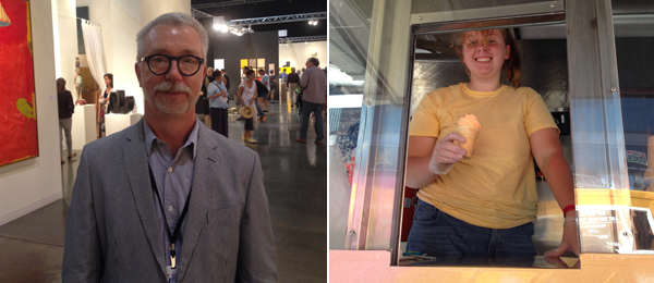 Left: Vulcan senior curator Greg Bell. Right: Spencer Finch's Sunset ice cream truck. (All photos: Dawn Chan)