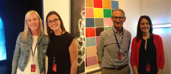Left: Pace director Elizabeth Sullivan and sales assistant Justine Chausson. Right: Dealer James Cohan and James Cohan Gallery director Laura Pinello.