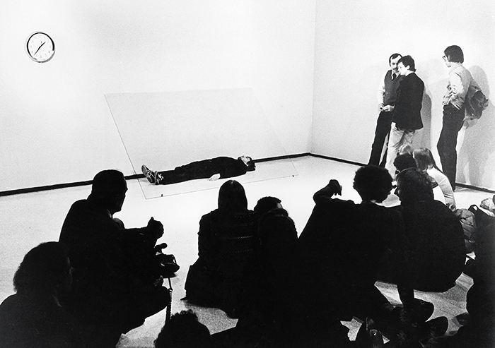 Chris Burden, Doomed, 1975. Performance view, Museum of Contemporary Art Chicago, April 11, 1975.