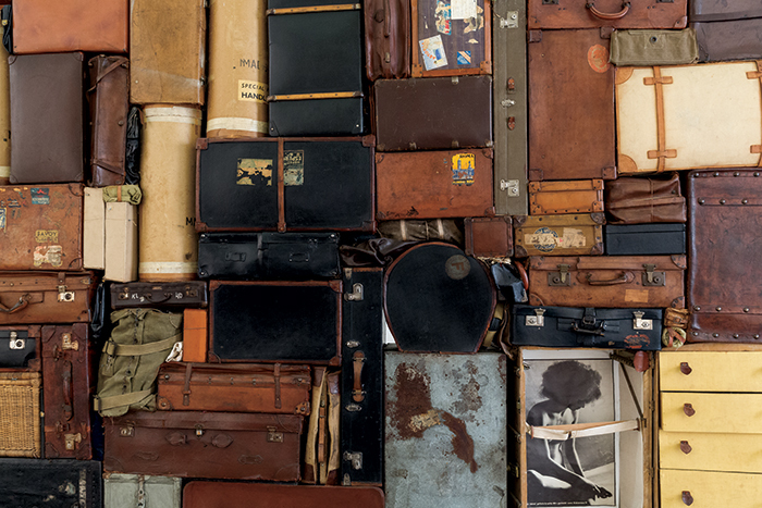 "Fabio Mauri, Il Muro Occidentale o del Pianto (The Western Wall or the Wailing Wall) (detail), 1993, suitcases, bags, boxes, leather casings, fabric, wood, 13' 1 1/2"" × 13' 1 1/2"" × 1' 11 5/8"". From ""All the World's Futures."""