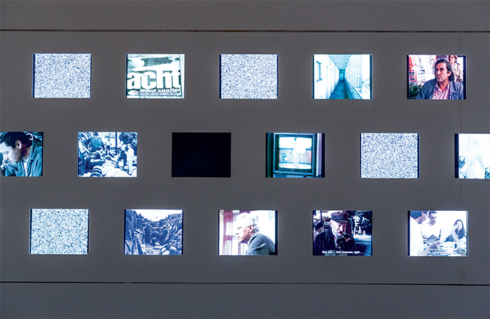 "Atlas of Harun Farocki's Filmography (detail), 2015, notebooks, approx. one hundred copies of Filmkritik magazine, vitrine, eighty-six digital videos (color, sound, infinite duration). From ""All the World's Futures."""