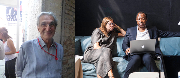 Left: Political philosopher Antonio Negri. (Except where noted, all photos: Kate Sutton) Right: Creative Time president Anne Pasternak and Okwui Enwezor. (Photo: Isabella Balena)