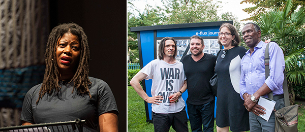 Left: Artist Simone Leigh. (Photo: Isabella Balena) Right: Artist Jeremy Deller, Creative Time's Nato Thompson, Meredith Johnson, and artist Charles Gaines. (Photo: Creative Time)