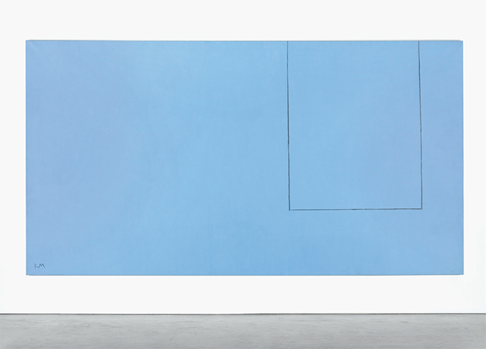 "Robert Motherwell, Open No. 16: In Ultramarine with Charcoal Line, 1968, acrylic and charcoal on canvas, 8' 3 1/2"" × 15' 6 1/2"". © Estate of Robert Motherwell/Licensed by VAGA, New York, NY."