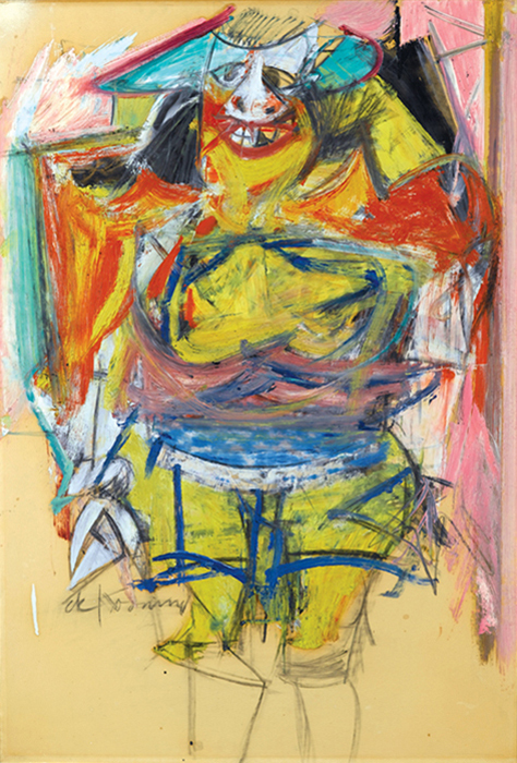 "Willem de Kooning, Woman, 1953–54, oil on paperboard, 35 3/4 × 24 3/8"". From ""From Ancient to Modern: Archaeology and Aesthetics.""  © The Willem de Kooning Foundation/Artists Rights Society (ARS), New York."