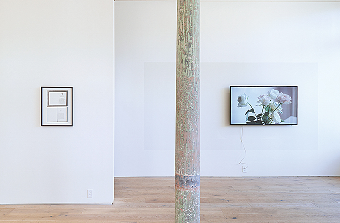 "View of ""Alejandro Cesarco,"" 2015. From left: Untitled (Blue Frame), 2015; Allegory, or, The Perils of the Present Tense, 2015."
