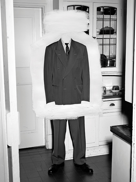 "Stan Douglas, Demobilization Suit, 1945, 2010, acrylic on digital C-print, 43 5/8 × 33""."