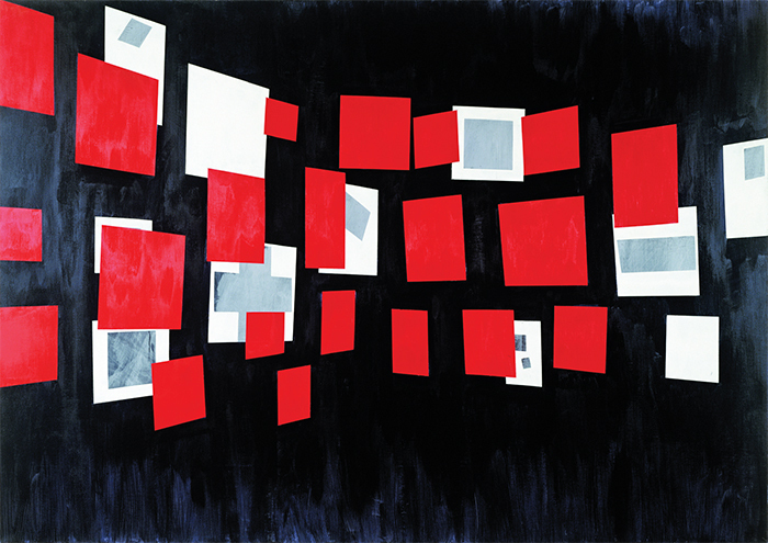 "David Diao, Glissement, 1984, acrylic on canvas, 70 1/2 × 100""."