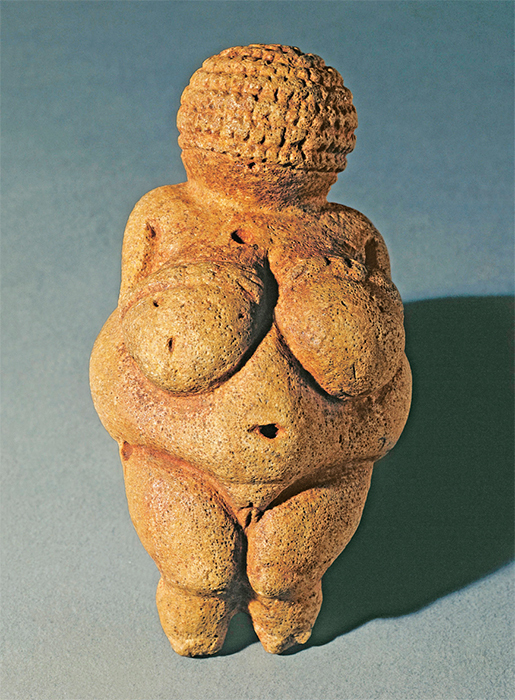 "*Venus of Willendorf, ca. 29,500 BCE*, limestone, 4 1/4 × 2 1/4 × 2 1/4""."