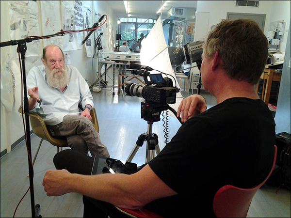 James Crump interviewing Lawrence Weiner, New York, 2014. Photo: Robert O'Haire.