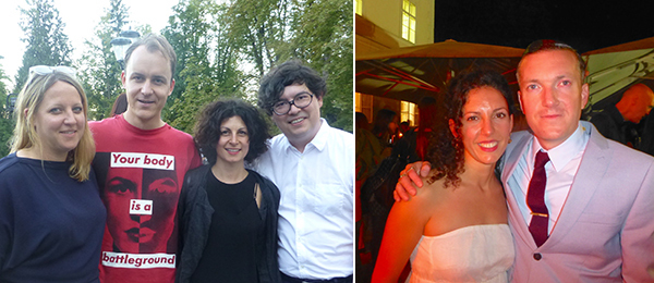 Left: Biennial curator Nicola Lees, artist Nick Mauss, dealer Silvia Squaldini, and artist Ken Okiishi. Right: Biennial curator Stella Bottai with artist Declan Clarke.
