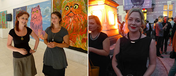 Left: Galerija Kresija's Mateja Veble with artist Nina Koželj. Right: Biennial cocurator Laura McLean Ferris.