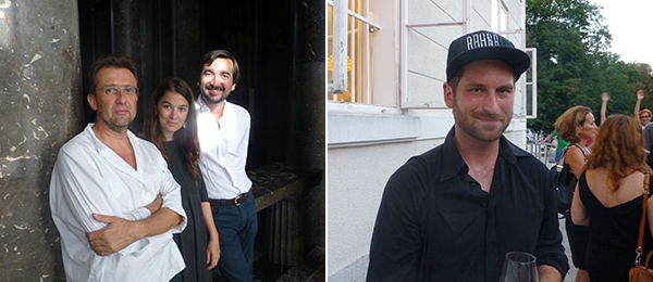 Left: Biennial artist Roman Uranjek with Raluca Soaita and dealer Andrei Breahna. Right: Biennial artist Ištvan Išt Huzjan.