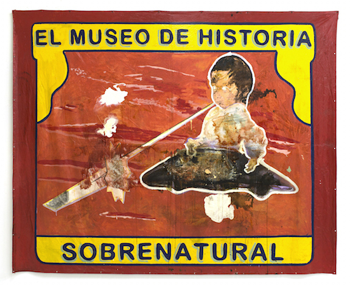 "José Luis Vargas, The Museum of Supernatural History, 2015, mixed media on tarp, 10' 21"" x 9' 6""."