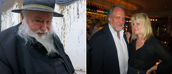 Left: Artist Hermann Nitsch. Right: Dealer Jeff Poe and curator Alison Gingeras.