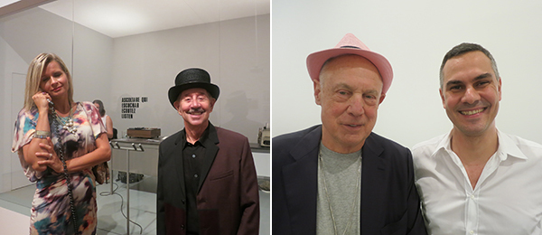 Left: Artist David Lamelas (right). Right: Artist Ron Nagle and New Museum associate director Massimiliano Gioni.