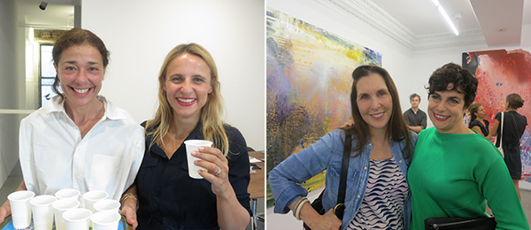 Left: Dealers Nathalie Karg and Josee Bienvenu. Right: Artists Laurie Simmons and Jackie Sacoccio.