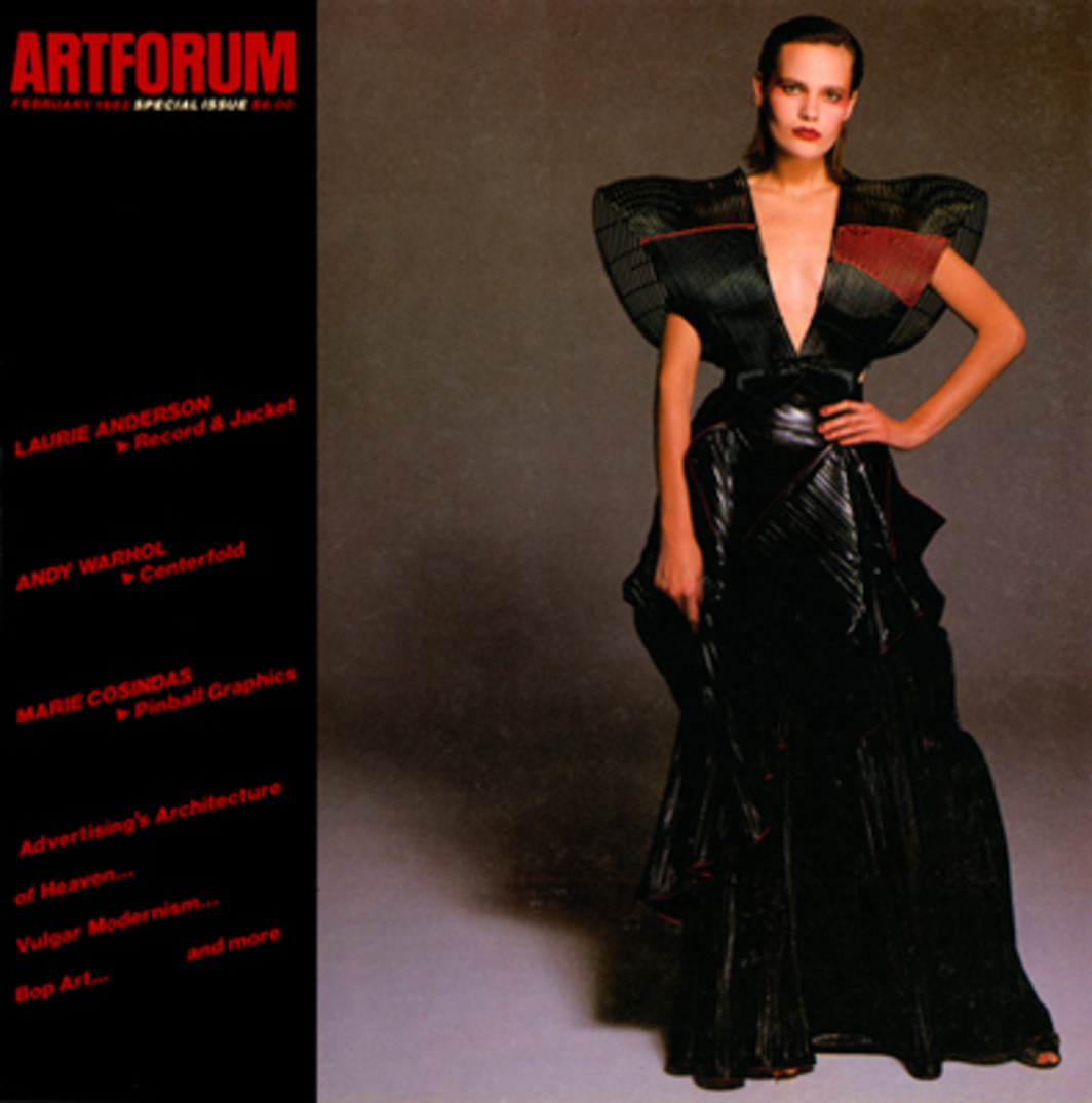 Cover of Artforum February 1982. Art by Issey Miyake, 1982 Spring-Summer Collection, rattan bodice and nylon polyester skirt.